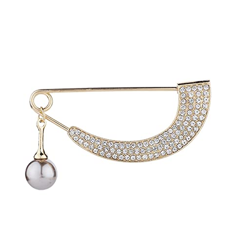 DAGONGREN Broche simple para las mujeres Crystal Rhinestone Curved Pearl Colgante Cardigan Cardigan Pin Pin Bufanda Hebilla Accesorios Joyería (Color : A)