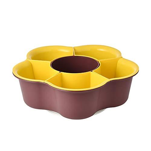 GZDD Plato de Verduras Multifuncional Creativo Giratorio para Uso doméstico Cesta de Drenaje, frutero de plástico Recipiente de Drenaje para Olla Caliente Soporte para Frutas,Brown,6grids