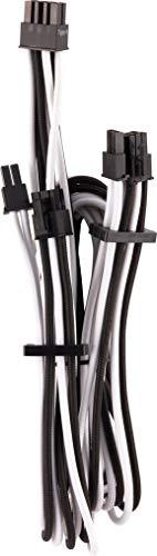 Câbles PCIe (connecteur double) type 4 Gen 4 à gainage individuel CORSAIR Premium – blancs/noirs