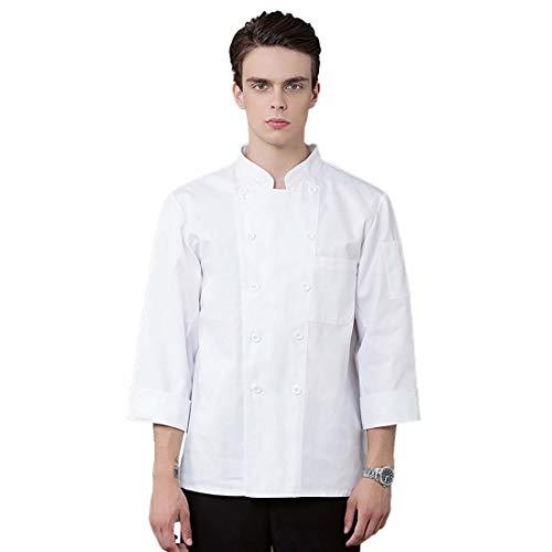 CHANGXIE Uniformes de Manga Larga de Doble pechuga Blanca Unisex Chef Waiter Hairdresser Shirt Restaurant Hotel Cafe Bakery Kitchen Monos,4XL