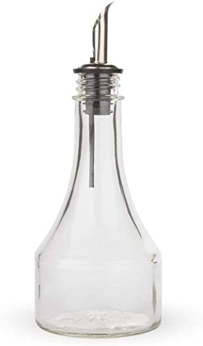 KegWorks Glass Syrup Bottle with Stainless Steel Pourer,transparent - 8 oz