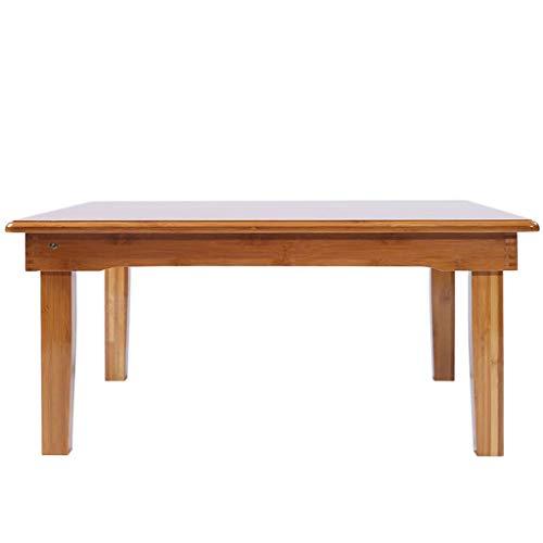 WYJW - Mesa plegable de madera de bambú natural para salón, balcón, espacio pequeño, mesa de café plegable, con refuerzo grueso (tamaño: 60 x 60 x 40 cm)