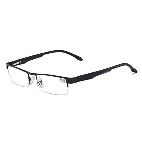 LGQ Gafas de Lectura bifocales progresivas para Hombres y Mujeres, Lentes de Resina de Alta definición, Montura de Metal Ultraligera, luz Anti-Azul, dioptría Anti-Fatiga +1,00 a +3,00,Negro,+ 1.50