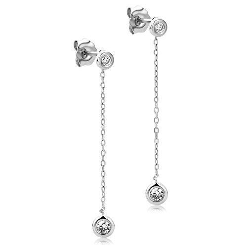 Orovi Pendientes Señora largos en Oro Blanco con Diamantes Talla Brillante 0.19 ct Oro 9 Kt / 375