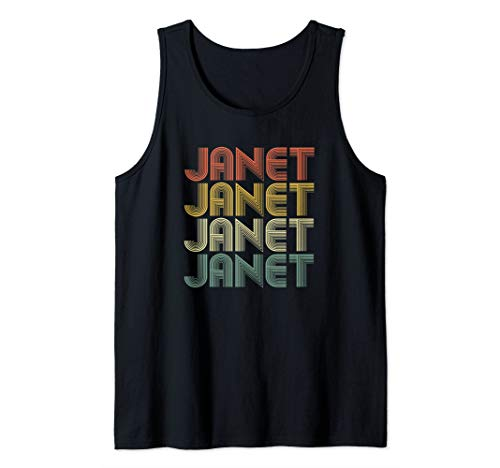 Janet Retro Personalized First Name 1970s Vintage Tank Top