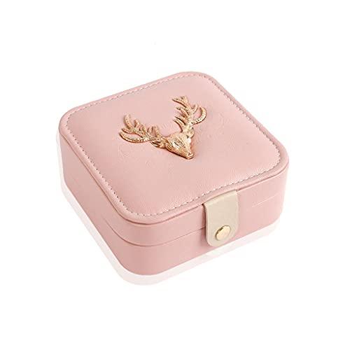 Almacenamiento de joyas Oganizer Caja de almacenamiento de joyas de viaje portátil, caja de clasificación de anillos de anillo de anillo de pendientes coreanos de anillo, botón magnético de apertura y