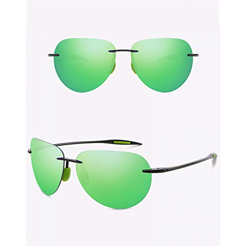 SXRAI Gafas de Sol ultraligeras sin Montura para Hombre, Gafas de Sol para Conducir, protección UV Masculina,C2