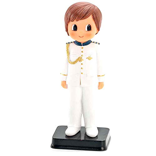 Muñeco para la tarta niño Comunión con traje blanco con adornos azul y dorado.Recuerdo figura pastel Primera Comunión niño