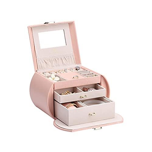 ROEWP Caja de joyería de Modelo de Medio Mes único, Caja de Almacenamiento de Cuero de Gran Capacidad de Varias Capas, Caja de joyería del corazón de la niña portátil Exquisita (Color : Pink)