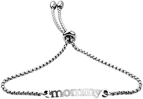Mother s Day Gift Personalized Mommy Bangle Mama Bracelet Mommy Bracelet Gift for Mom Silver product image
