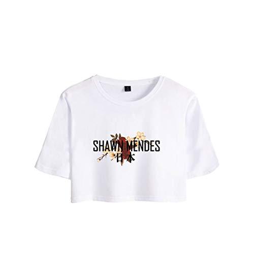 CTOOO Trend Damen Gedenkkleid Shawn Mendes T-Shirt, Casual Street Stil Shirt Frauen,Nabel T-Shirt Loose Fit Schwarz Grau, XS-XXL