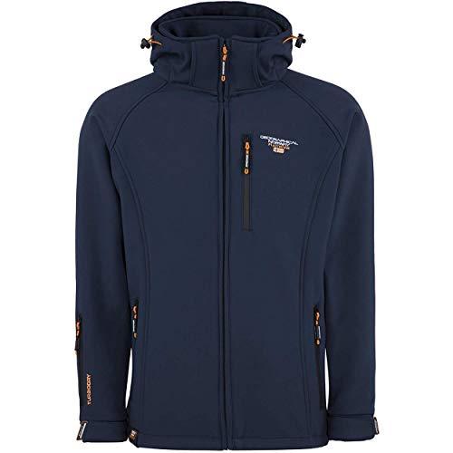 Geographical Norway TABOO MEN - Chaqueta Softshell Impermeable Hombre - Capucha Transpirable Exterior - Chaqueta Cortavientos Invierno - Ideal Para Actividades Al Aire Libre Azul XL
