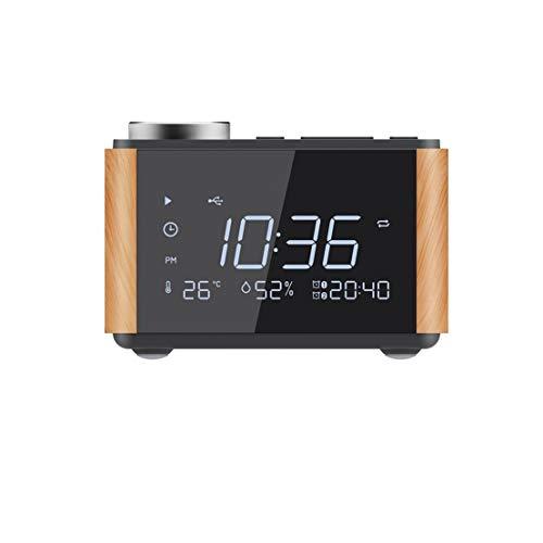 GYZX Reloj Despertador Espejo Altavoz Snooze Temperatura Subwoofer Cargador USB Radio Reproductor de música Digital Reloj de Escritorio