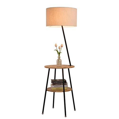 QTDH Nordic Shelf staande lamp voor bank, salontafel, leeslamp, minimalistisch, grote steen, hout, staande lamp voor slaapkamer, s nachts of woonkamer