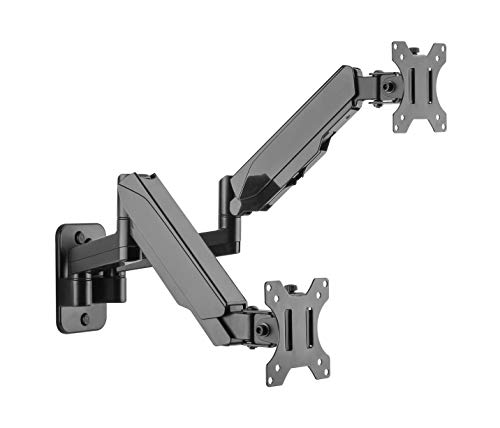 TechOrbits Wall Dual Mount Monitor Arm - Two Computer Screens and TV Mounted Stand with Integrated Cable Management - Fits Screens 13'-32'