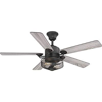 Progress Lighting P2584-71 Protruding Mount, 5 Toasted Oak/Driftwood Blades Ceiling fan with 6.5 watts light, Black