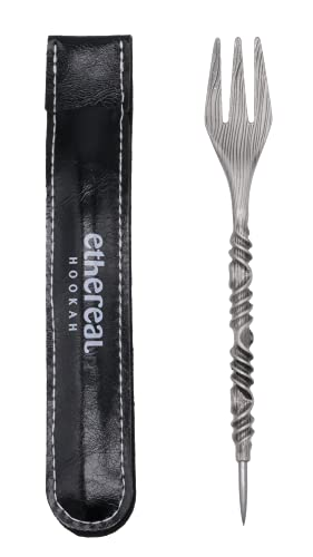 Ethereal Hookah | Tenedor con Punzón para Cachimba o Shisha | Ajusta la melaza en la Cazoleta | Perfora el papel de aluminio | Reutilizable | Acero Inoxidable (Plata)
