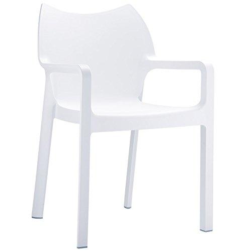 Alterego - Chaise design de terrasse 'VIVA' blanche en matière plastique
