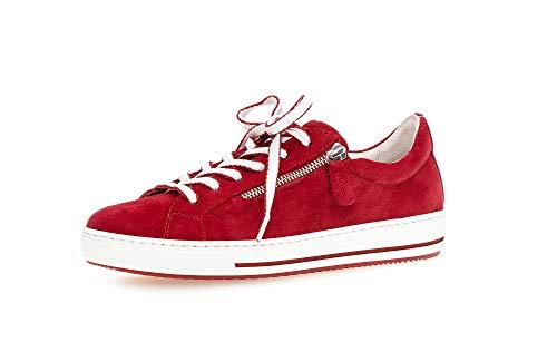 Gabor Damen Sneaker, Frauen Low-Top Sneaker,Comfort-Mehrweite,Reißverschluss,Optifit- Wechselfußbett, Ladies feminin,Rubin (Rubin k.),40 EU / 6.5 UK