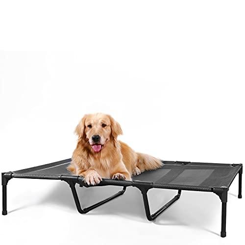Cama elevada para perros METCHIC para perros grandes, cama elevada para perros XL, color negro