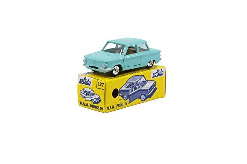 Solido 421436620 S1001271 NSU Prinz IV, 1963-1967, Serie 100, Modellauto, Maßstab 1:43, im Stülpdeckelkarton mit Schiebehülle, türkis