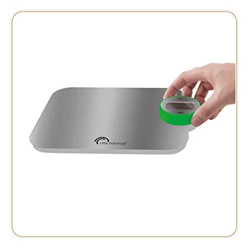LITTLE BALANCE 8223 Kinetic Premium - Balance de Cuisine - 5kg / 1 g - Aucune Pile ni Batterie - Écologique Grâce à son Bouton Little Balance - Inox