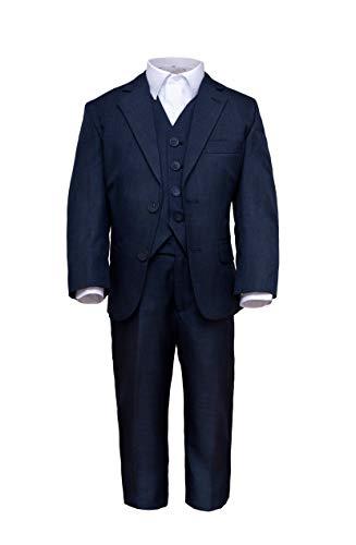 Märchenburg® 4 TLG. festlicher Jungen Anzug Kombinationen Jacke, Weste, Hose und Hemd in blau für Kommunion Konfirmation Hochzeit Party (152)