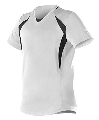 Alleson Ahtletic Mädchen Strick Fast Pitch/Softball Jersey, Mädchen, weiß/schwarz, Large