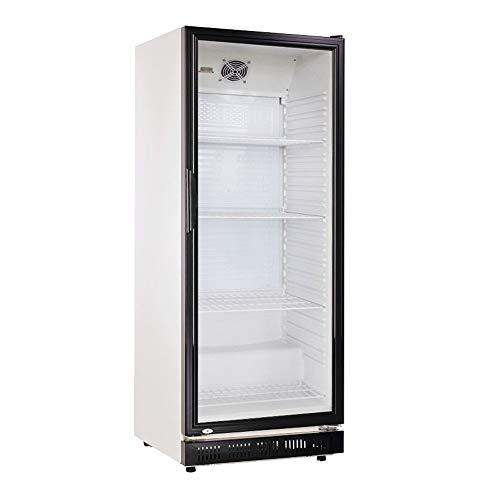 360l Getränkekühlschrank (Flaschenkühlschrank) mit Glastür. Abschließbar. Schwarz-weiß. Freistehender Getränkekühlschrank.