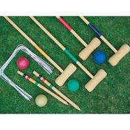 CROQUET SET 4 PLAYER COMPLETE WOODEN OUTDOOR GARDEN MALLET BALLS TOY FUN NEW