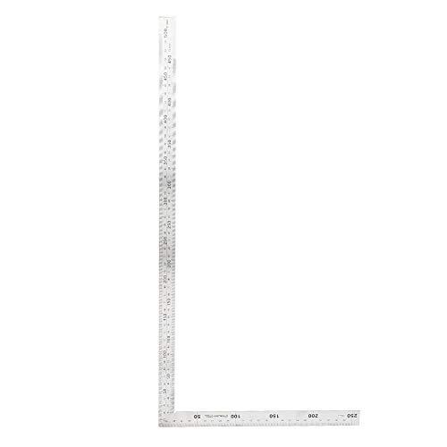 TOPINCN 直角定規 シルバー 曲尺 完全スコヤ スクエアルーラー 建築・鉄工用 90度 L形 測定工具 ゲージ ステンレス鋼 分度器 アングルルーラー 耐久性(500mm*250mm)