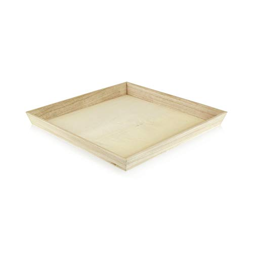 Noah31 Heavy Duty Wooden Tray (Case of 10), PacknWood - Biodegradable Serving Wood Table Trays (13.75' x 13.75' x 1.5') 210WOODTRAY31