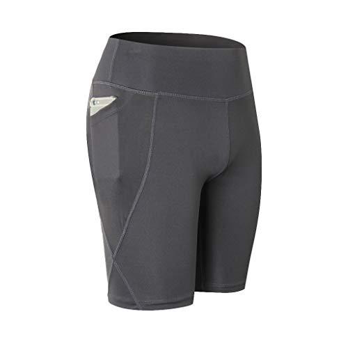 Deloito Damen Freizeit Hohe Taille Kurze Hosen Schnell Trocknend Yoga Shorts Abdomen Strecken Fitness Ausbildung Laufen Yoga Strand Hotpants (Grau,X-Large)
