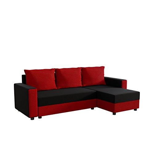 Ecksofa Vibo! Eckcouch Sofa mit Bettkasten, Schlaffunktion L-Form Couch, Ottomane Universal, Schlafsofa vom Hersteller (Korpus, Kissen, Einlage: Alova 46; Sitzfläche, Rückenlehne, Seiten: Alova 04)