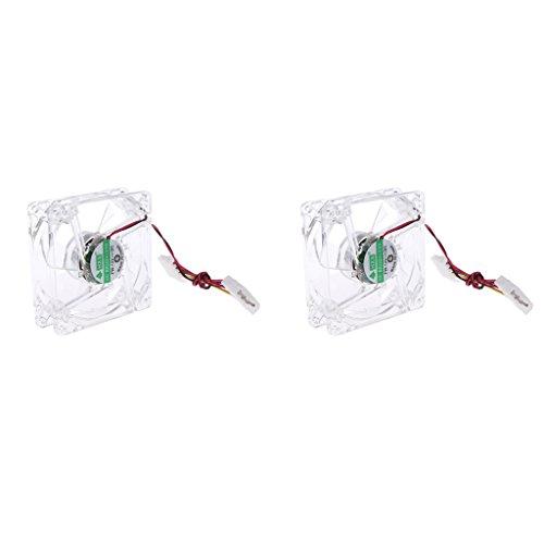 prasku Paquete de 2 4Pin 80mm LED 8cm Ventilador Silent Computer Cooler Ventilador de Refrigeración PC