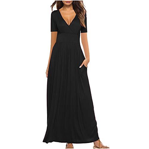 Vestidos Verano Mujer Mujer Cuello Redondo Casual Moda de Verano Sexy Vestido Casual Playa Largos Verano Tie...