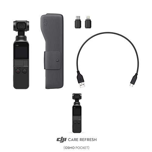 DJI Osmo Pocket + Care Refresh - 3-Achsen Gimbal-Bildstabilisierung + Versicherung (1/2.3 Zoll Sensor mit 80° Sichtfeld und F2.0 Blende, Videoaufnahmen mit bis zu 4K Ultra HD bei 60 fps)