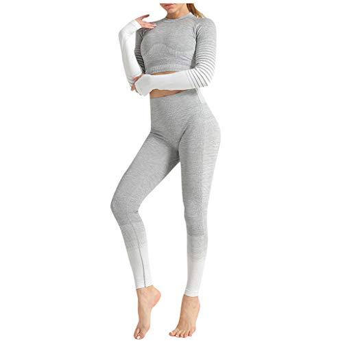 Toamen Donna Tuta da Ginnastica 2 Pezzi Crop Tops e Pantaloni Vita Alta Abbigliamento Sportivo Estivo Stampa Aderenti Ragazza Senza Manica Lunga Skinny Sportwear da Yoga Jogging Fitness