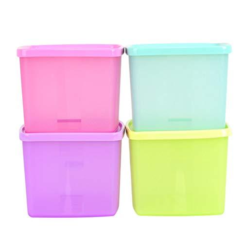Box Aufbewahrungsbox für Küche Vorratsbehälter für Lebensmittel 4 Sätze - Farbquadratische Dichtung - Kunststoff-Obst- / Gemüse- / Lebensmittelkühlschrank aus Kunststoff +