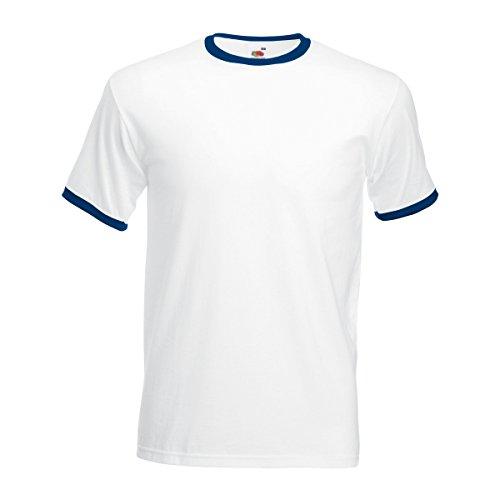Fruit of the Loom - Camiseta de Manga Corta con Bordes Hombres (2XL/Blanco/Azul Marino)
