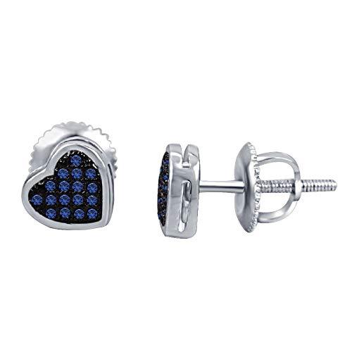 Ani's Pendientes de tuerca de plata 925 chapados en oro blanco de 14 quilates, para hombre y mujer, 1/8 quilates, zafiro azul