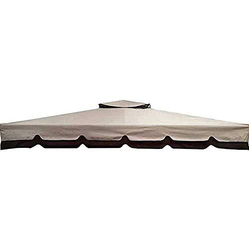 BAKAJI Telo di Copertura per Gazebo 3 x 3 Mt Colore Ecrù con Ribalta Tetto Camino Antivento Telo Impermeabile Antipioggia Doppio Strato Poliestere e PVC Rinforzato in PU