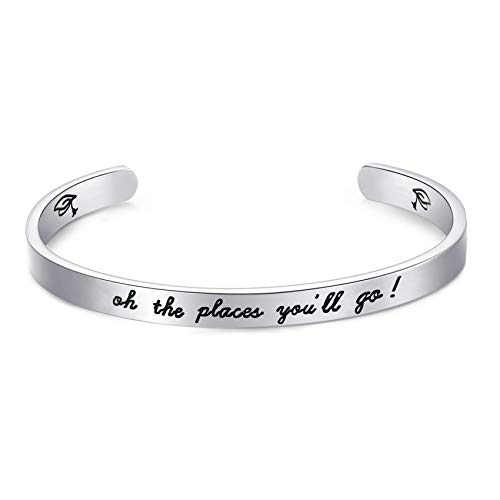 LParkin 2021 Graduation Gift Oh The Places You Will Go Bracelet , Stainless Steel (White)