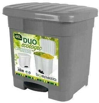 BG Spazio Cubo de Basura Papelera Duo clasificador 46 litros ecologic 2 en 1 (Gris)