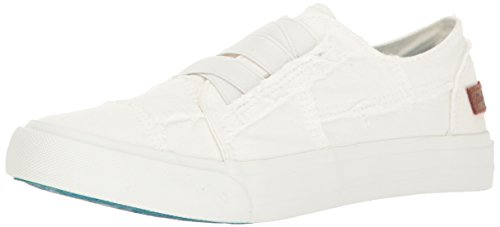 Blowfish Malibu Women's Marley Fashion Sneaker, White Color Washed Canvas, 7.5 Medium US