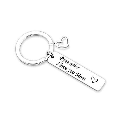 Amody Edelstahl Schlüsselanhänger Geschenke Silber Hohles Herz Rechteck graviert Remember I Love You mom für Männer Frauen Vatertagsgeschenke