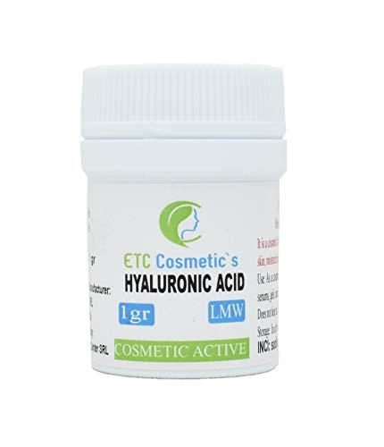 Polvo de ácido hialurónico 1 g LMW (bajo peso molecular) 100% natural y fuerte antienvejecimiento, relleno de arrugas