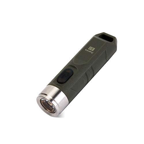 RovyVon Wiederaufladbare LED Taschenlampe, Schlüsselanhänger Taschenlampe, EDC Mini Taschenlampe für Radfahren Camping, Wandern(A1 grün)