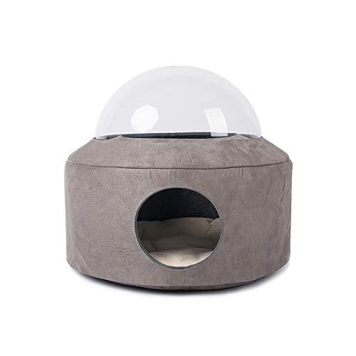 DC Wesley Cat Bett Die Kapsel Eingeschlossen Katzentoilette Pet Nest Transparent Felt Stern 48 * 45cm Four Seasons Allgemeine (Color : Brown)