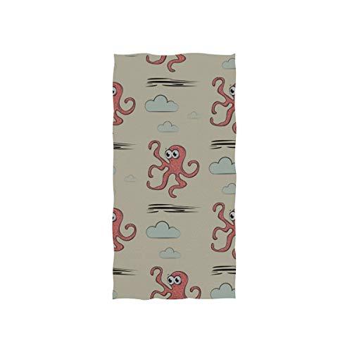 LINPM Handtücher 30x15in, Cute Pattern Octopus Clouds Schwimmen Dünnes Badetuch, Drucken Weiches, hochsaugfähiges kleines Badetuch für Badezimmer, Hotel, Fitnessstudio und Spa